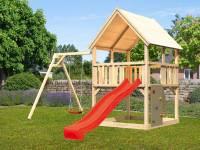 Akubi Spielturm Luis Satteldach + Rutsche rot + Einzelschaukel + Kletterwand