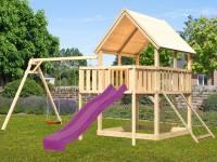 Akubi Spielturm Luis Satteldach + Rutsche violett + Doppelschaukel + Anbauplattform + Netzrampe