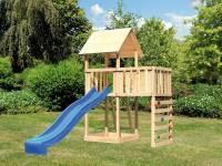Akubi Spielturm Lotti natur mit Anbauplattform, Kletterwand und Rutsche blau