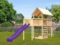 Akubi Spielturm Danny Satteldach + Rutsche violett + Anbauplattform XL + Kletterwand