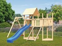 Akubi Spielturm Lotti Satteldach + Schiffsanbau oben + Anbauplattform + Einzelschaukel + Netzrampe +