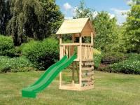 Akubi Spielturm Lotti mit Kletterwand und Rutsche grün